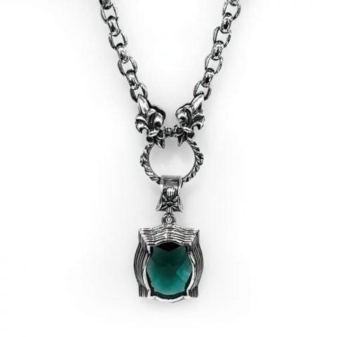 Necklace Baroque green Zirconia checker in sterling silver