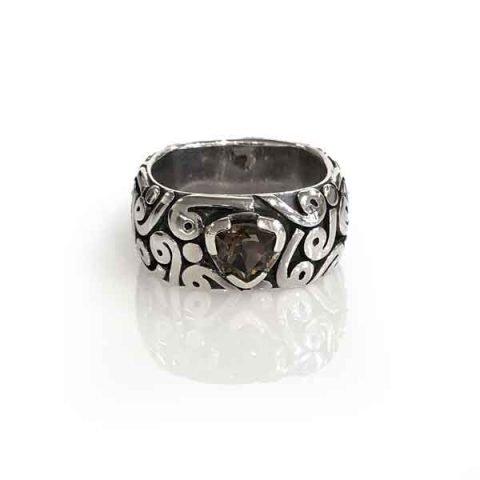 Ring swirl silver oxidised square band stone smoky quartz
