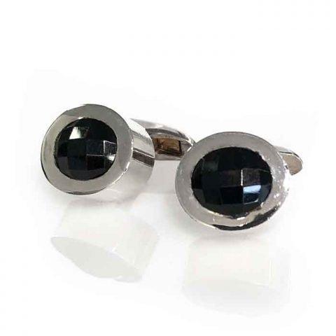 Cufflinks silver oval onyx checker cut