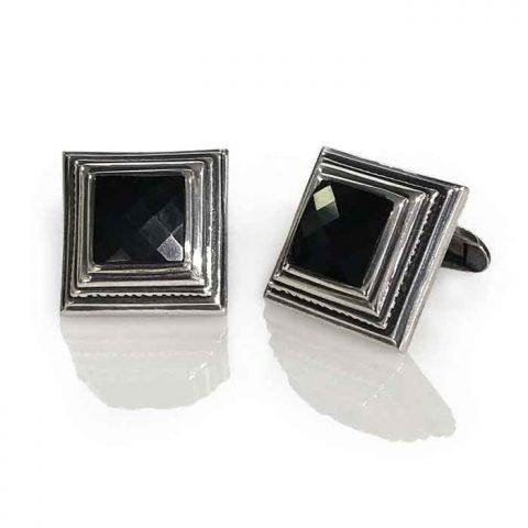 Cufflinks silver square onyx checker cut