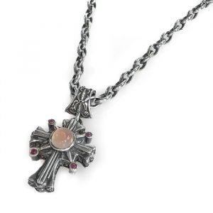 necklace morning star cross silver rose quartz and rubies