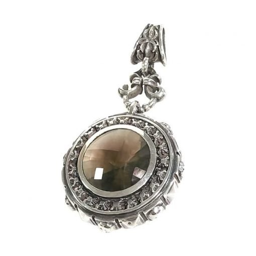 Pendant silver and round-pyramids sides and stars on top with smoky quartz checker