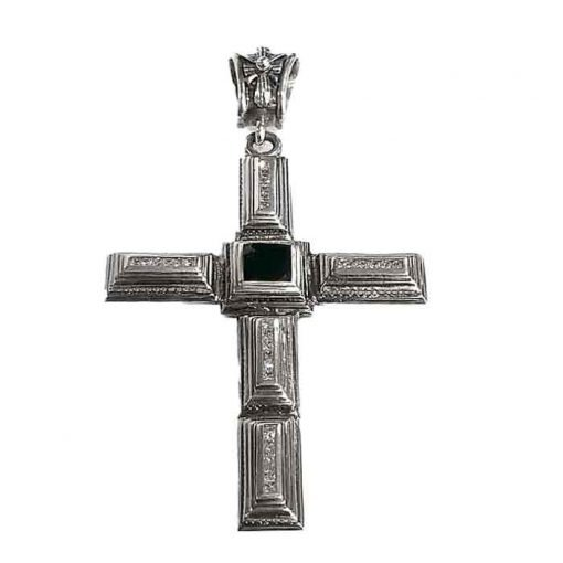 Pendant sterling silver cross and onyx stone