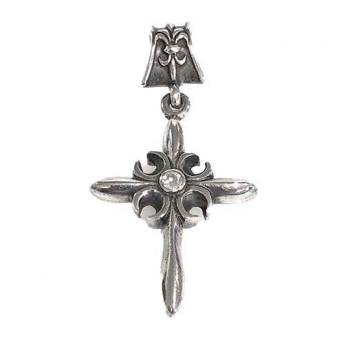 pendant silver cross with white zirconia