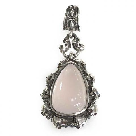 pendant silver skull frame and big rose quartz