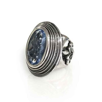 Ring silver and oval blue Zirconia checker