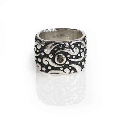 Ring Evolution silver oxidized square band stone smoky quartz