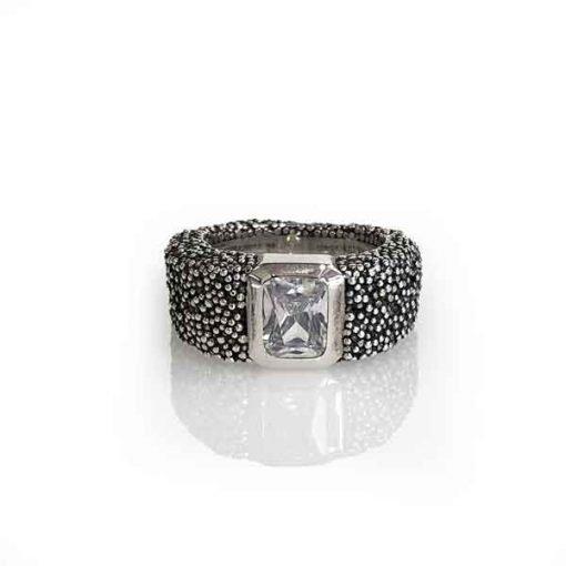 Ring Grain of Earth silver oxidized stone white Zirconia