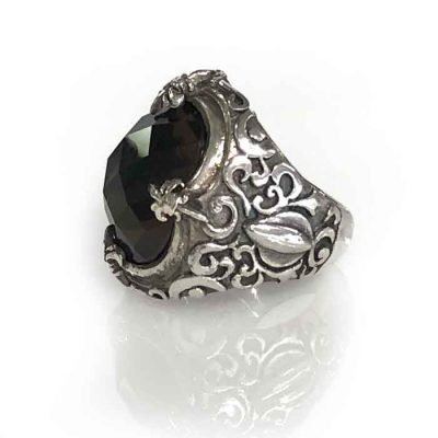 ring silver smokey quartz