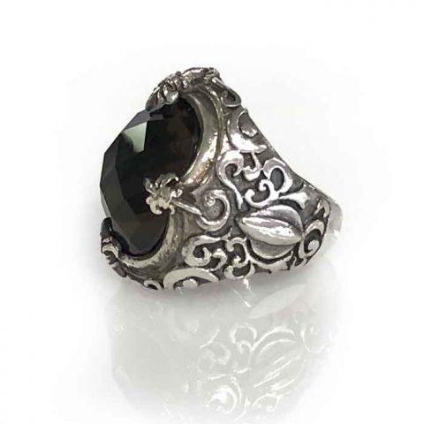ring silver smokey quartz