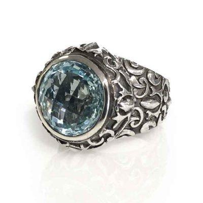 Ring silver round aqua Zirconia checker