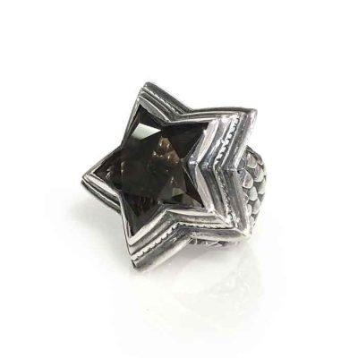 ring universe silver smoky quartz star dragon scale band